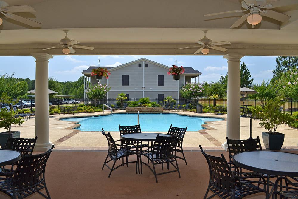 Covered Lounge Furniture at Village at Westlake Apartments in Shreveport, Louisiana