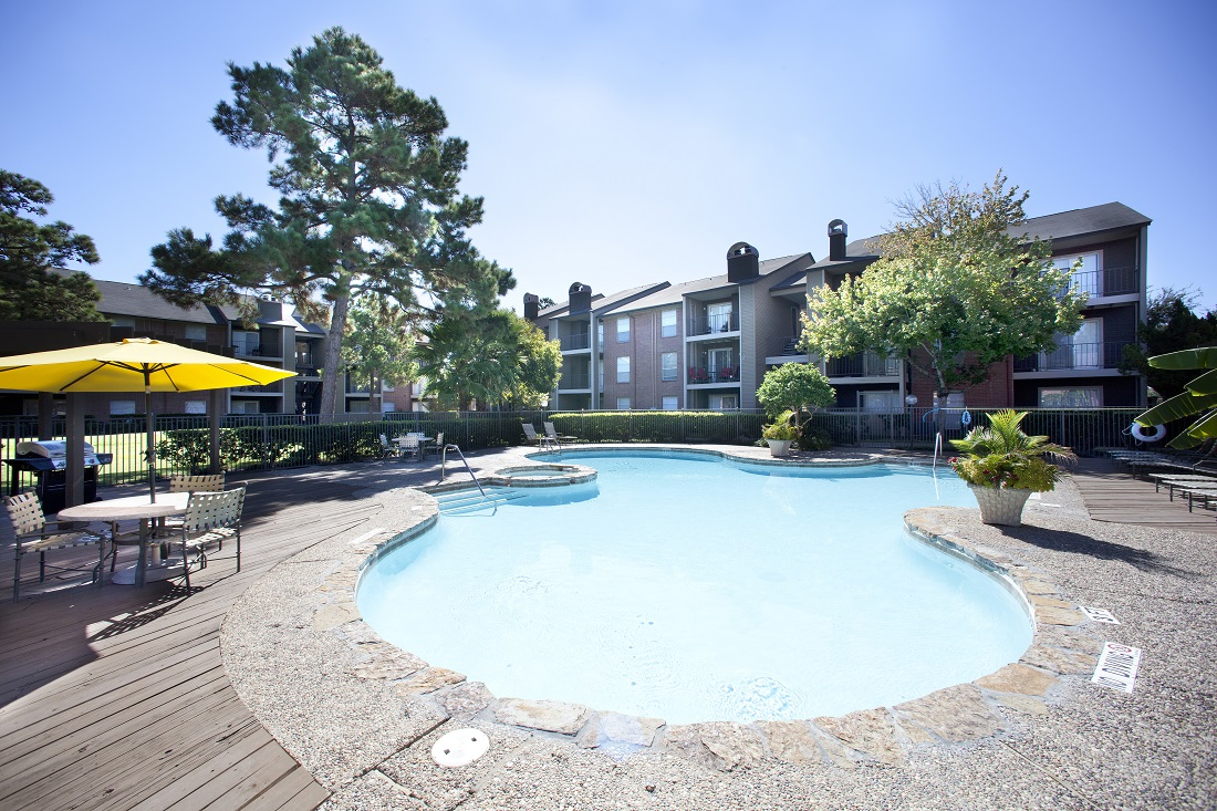 Tropical-Style Pool at Westmount at Copper Mill Apartments in Houston, Texas