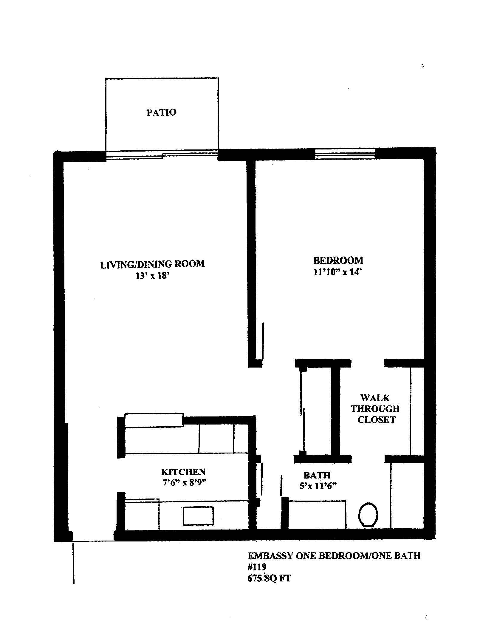Floorplan - EMBASSY 1C-  Located at Embassy Apartment image