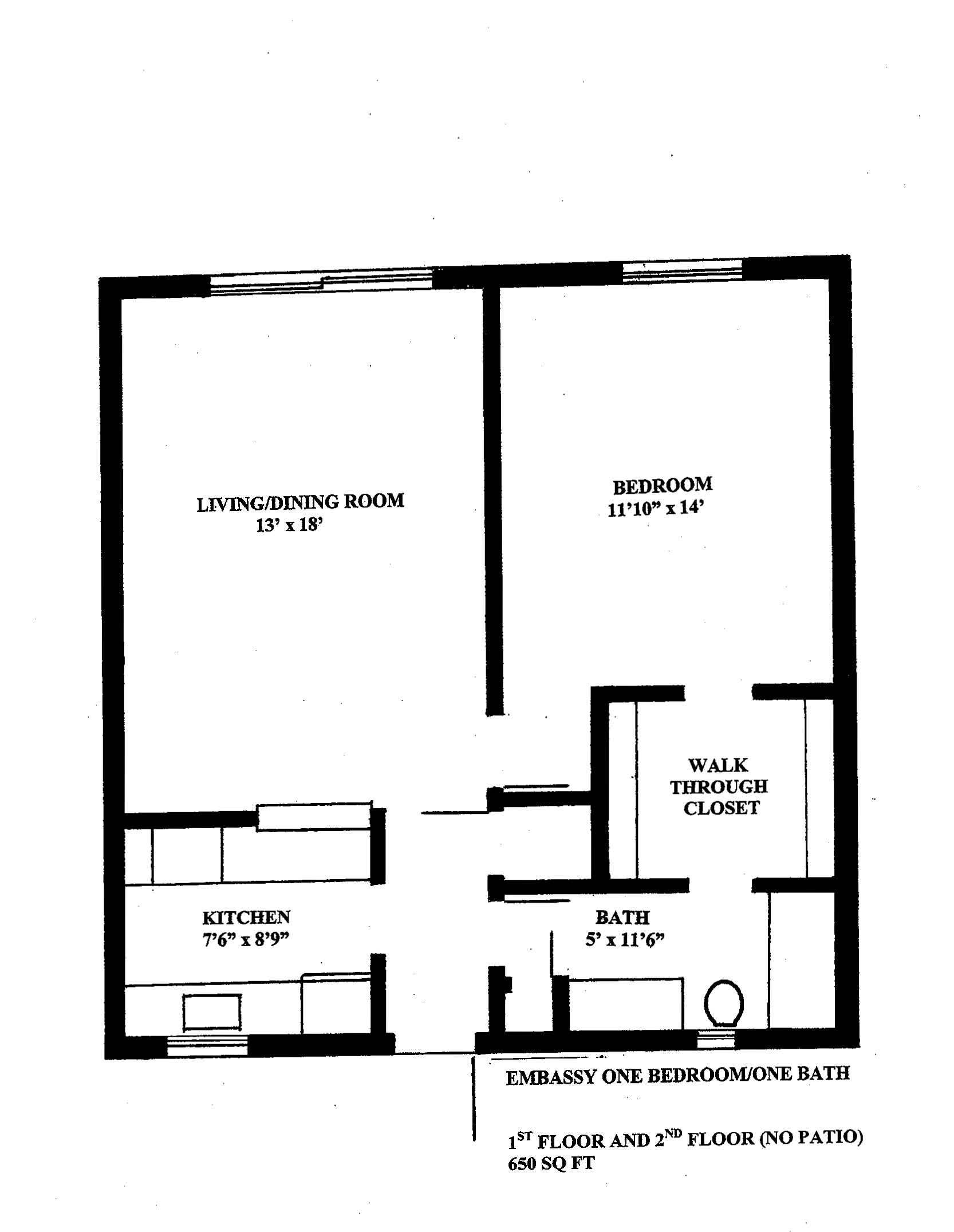 WestShore Apartments/Embassy Apartments - Floorplan - EMBASSY 1a - One Available - Located at Embassy Apartments