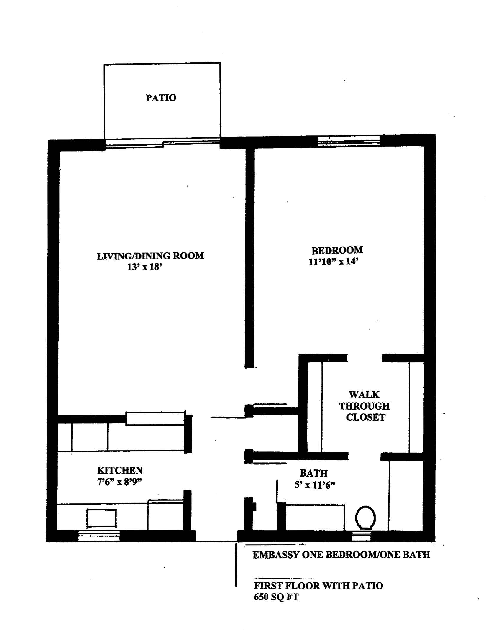 WestShore Apartments/Embassy Apartments - Floorplan - EMBASSY 1B - PATIO - One Available.  Located at Embassy Apartments