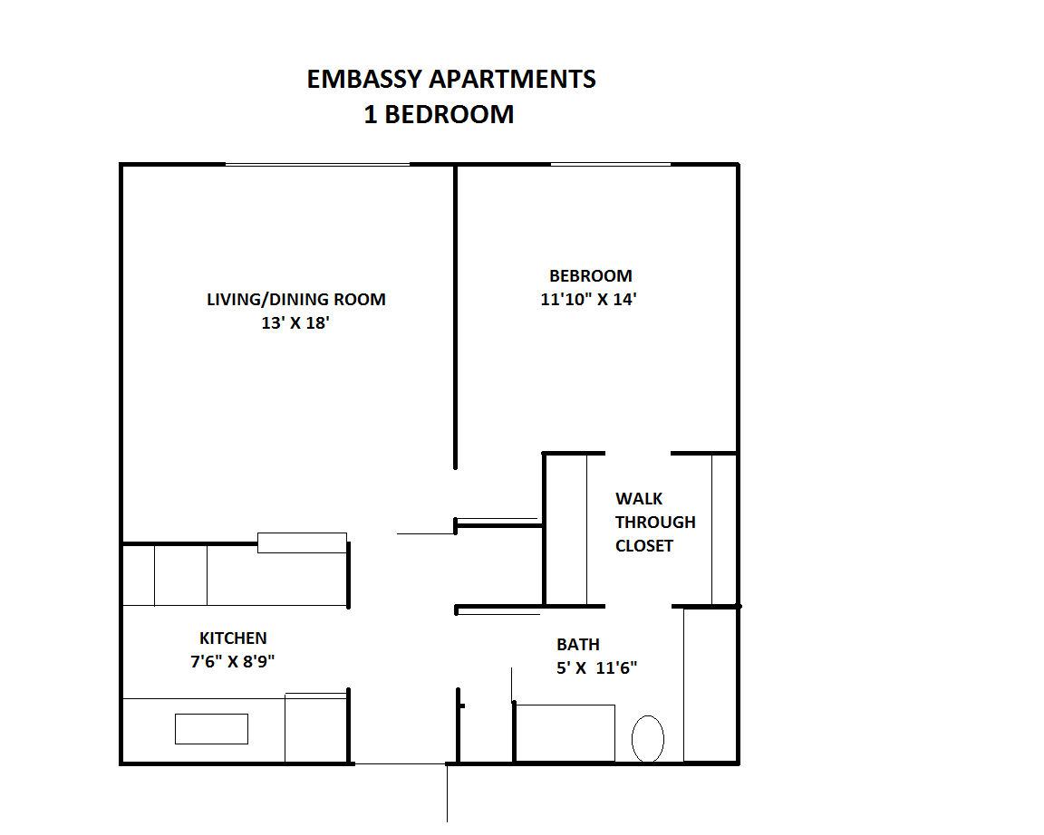WestShore Apartments/Embassy Apartments - Floorplan - EMBASSY 1A-  Located at Embassy Apartments