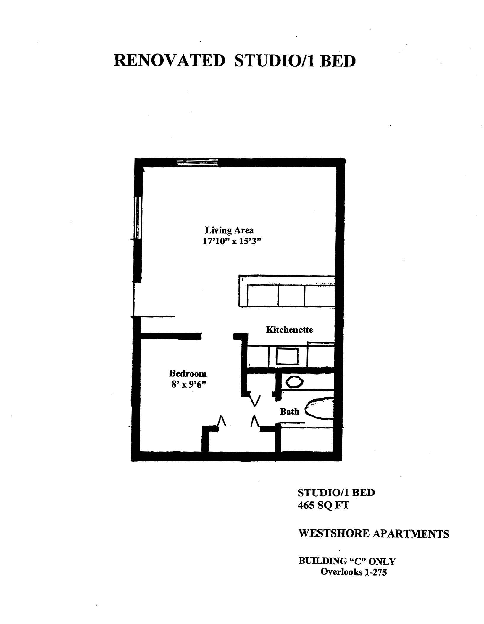1 bedroom studio floor plans for One bedroom efficiency apartment plans