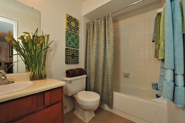 Upgraded Bathrooms with Spacious Vanities at Westwind Apartments in Denton, TX
