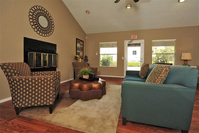 Leasing Center with Plush Furniture at Westwind Apartments in Denton, TX