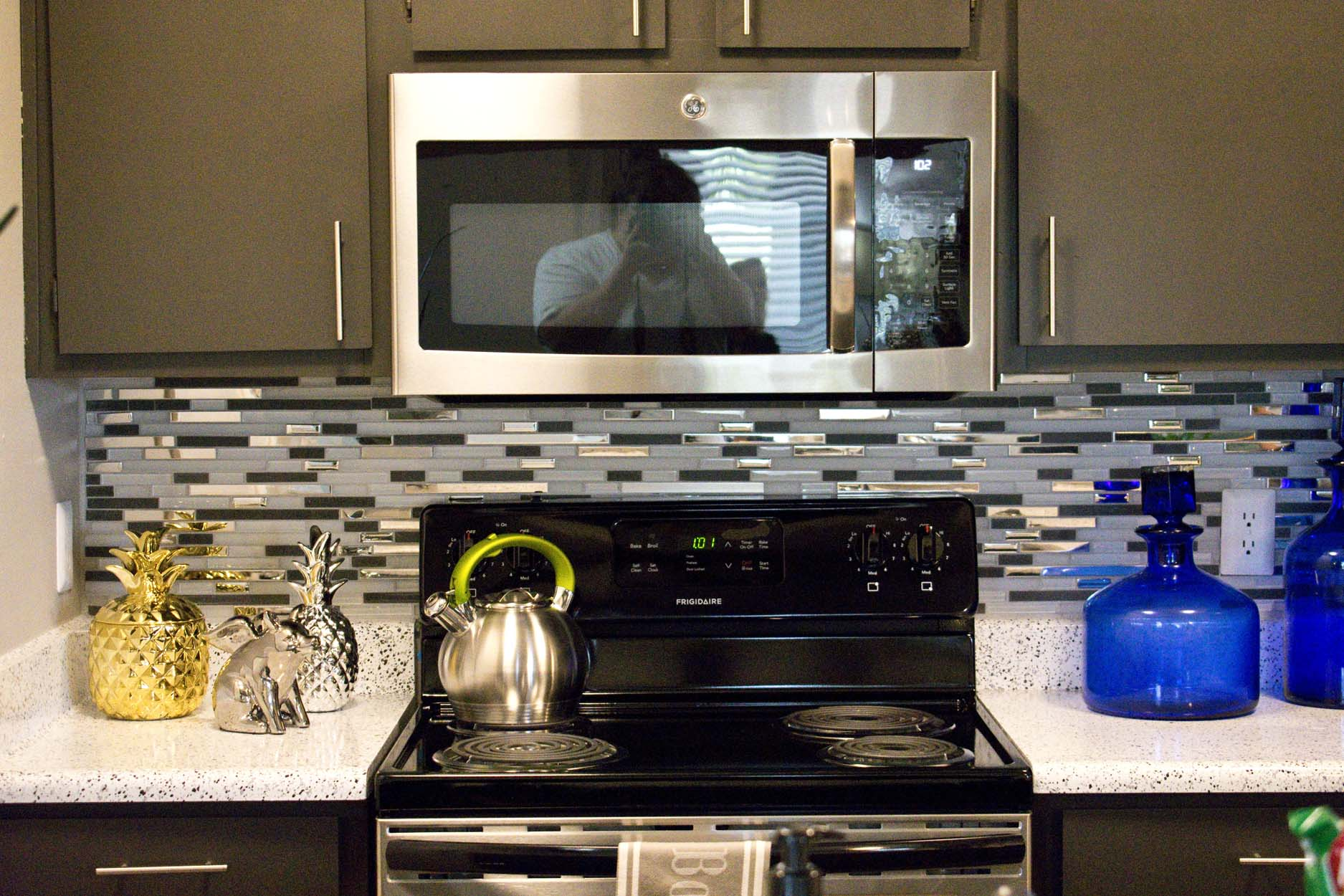 Our New Upgrades featuring Gray Paint, Stainless Steel Appliances and LED Lighting