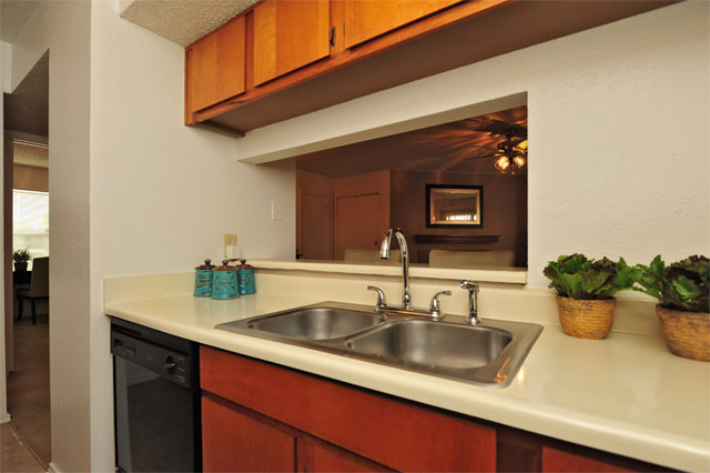 Double Bowl Stainless Steel Sink at Westwind Apartments in Denton, TX