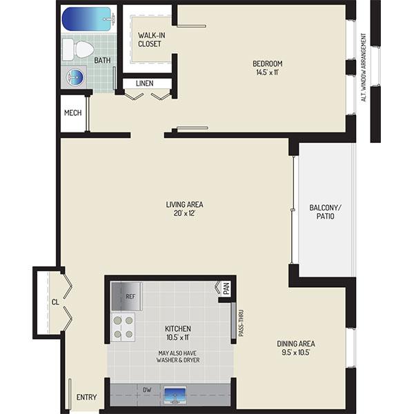 Whitehall Square Apartments - Floorplan - 1 Bedroom + 1 Bath
