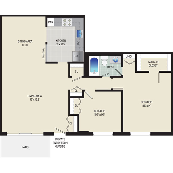 Whitehall Square Apartments - Floorplan - 2 Bedrooms + 1 Bath