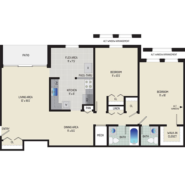 Whitehall Square Apartments - Floorplan - 2 Bedrooms + 1.5 Baths