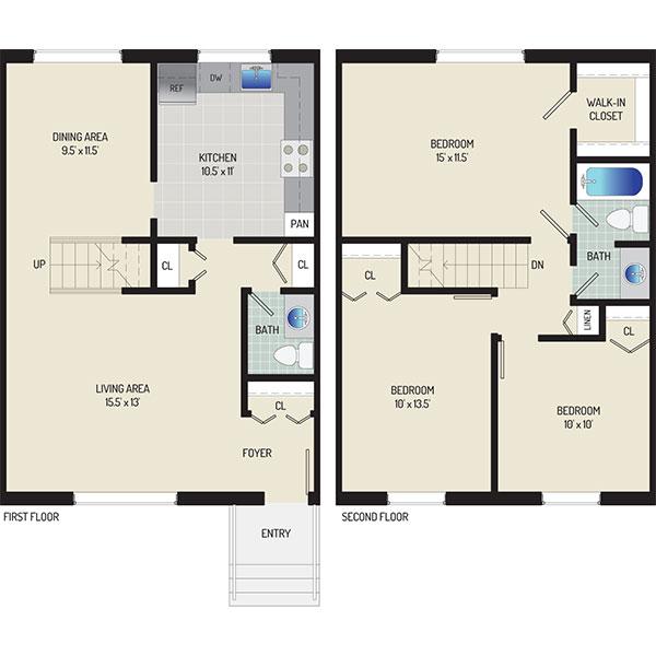 Whitehall Square Apartments - Floorplan - 3 BR+ 1.5 BA Townhome