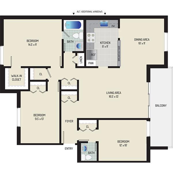 Whitehall Square Apartments - Floorplan - 3 Bedrooms + 1.5 Baths