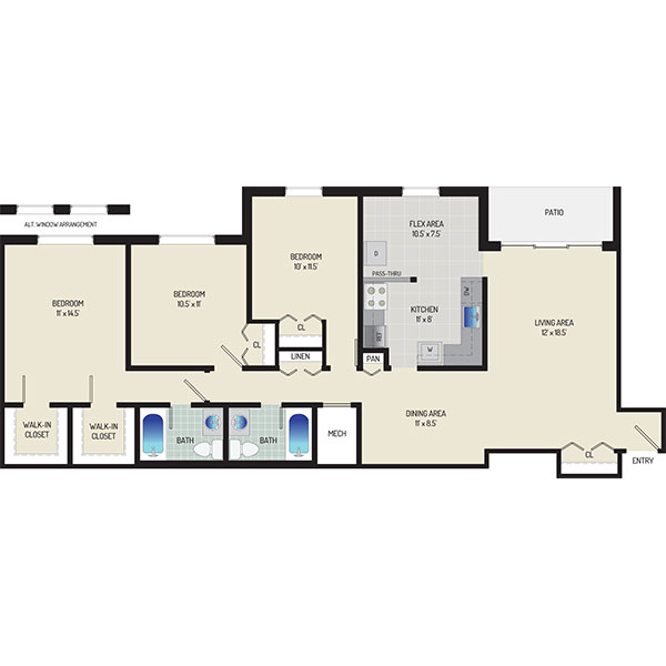 Whitehall Square Apartments - Floorplan - 3 Bedrooms + 2 Baths