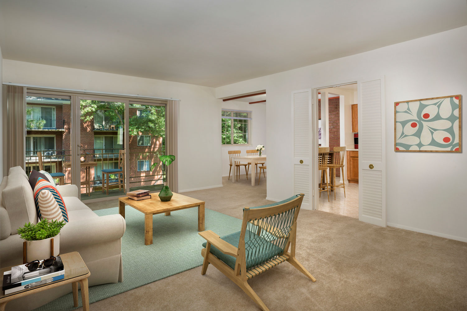 Spacious living area at Whitehall Square Apartments in Suitland, MD