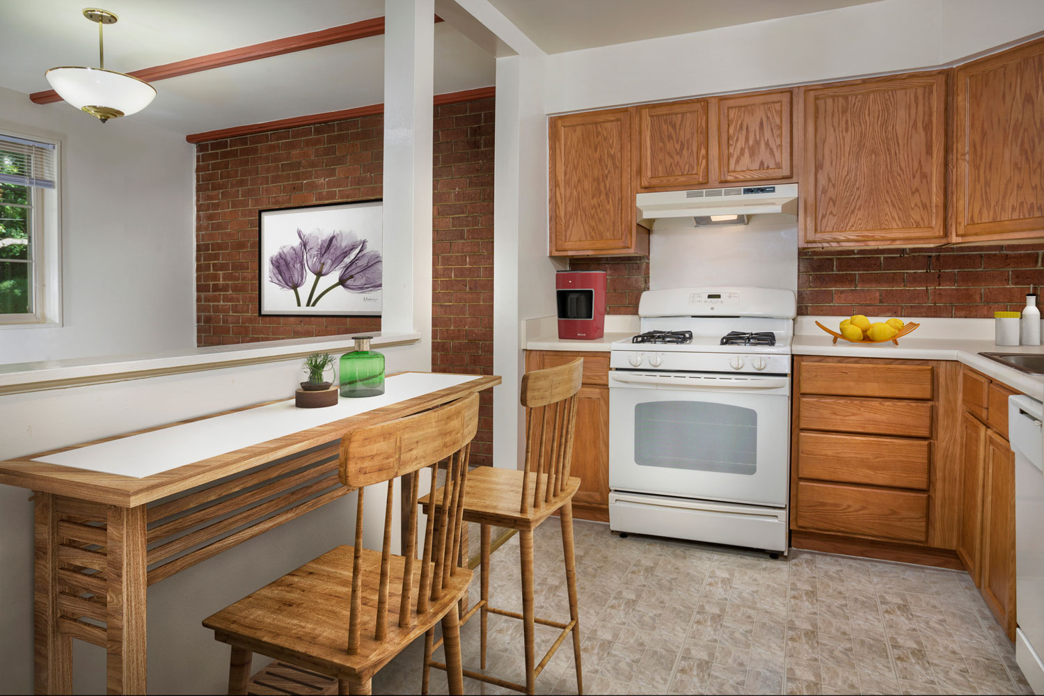 Big kitchen with lots of counter & storage space at Whitehall Square Apartments
