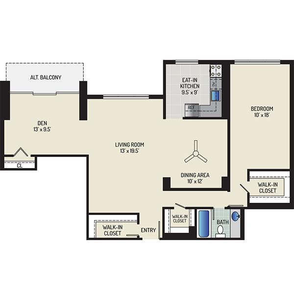 White Oak Towers Apartments - Floorplan - 1 Bedroom + 1 Bath
