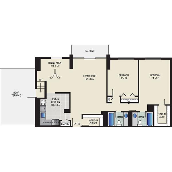 White Oak Towers Apartments - Floorplan - 2 Bedrooms + 2 Baths