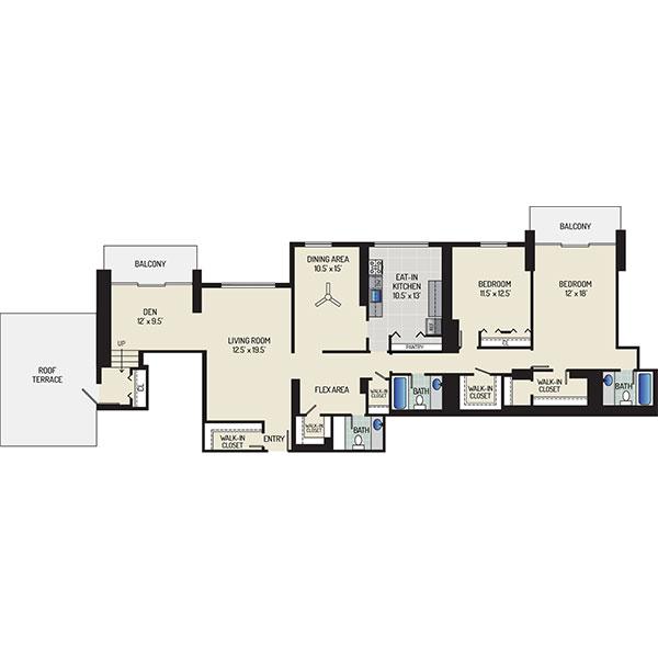 Floorplan - 2 Bedrooms + 2.5 Baths image