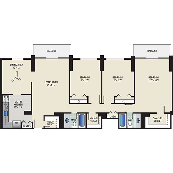 White Oak Towers Apartments - Floorplan - 3 Bedrooms + 2 Baths