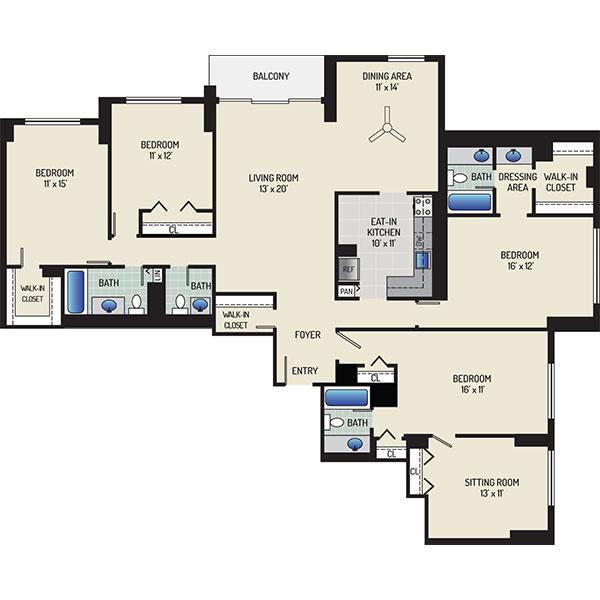 White Oak Towers Apartments - Floorplan - 4 Bedrooms + 3.5 Baths