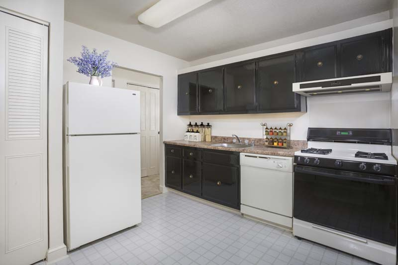 Fully-equipped kitchen with storage at White Oak Towers Apartments in Silver Spring, MD