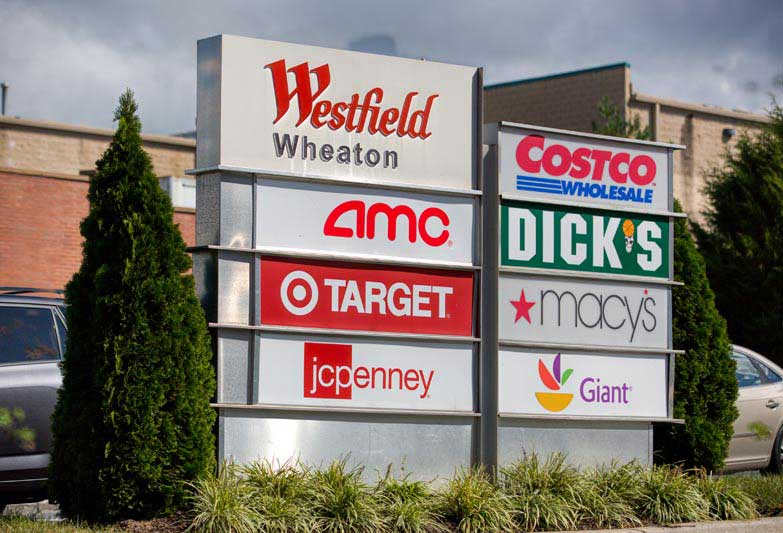 Westfield Wheaton mall is 15 minutes from White Oak Towers Apartments
