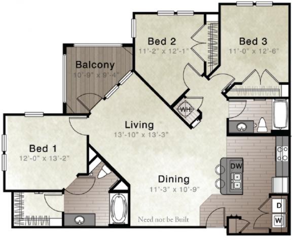 Whitepalm Luxury Apartment Homes - Floorplan - Areca