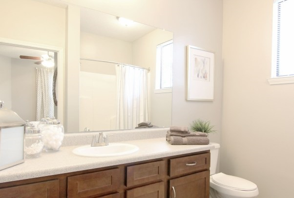 Bathroom Vanity with Designer Countertops at Whitepalm Apartments in Port Orange, FL