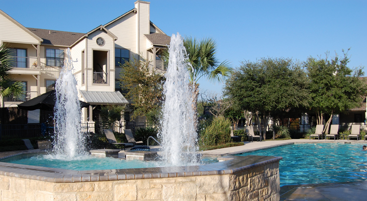 Beautiful Poolside Fountains at White Rock Apartment Homes in San Antonio, Texas