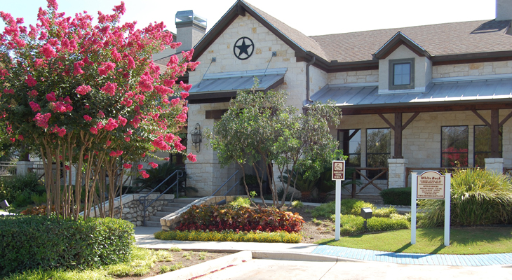 Leasing Center and Clubhouse Exterior at White Rock Apartment Homes in San Antonio, Texas