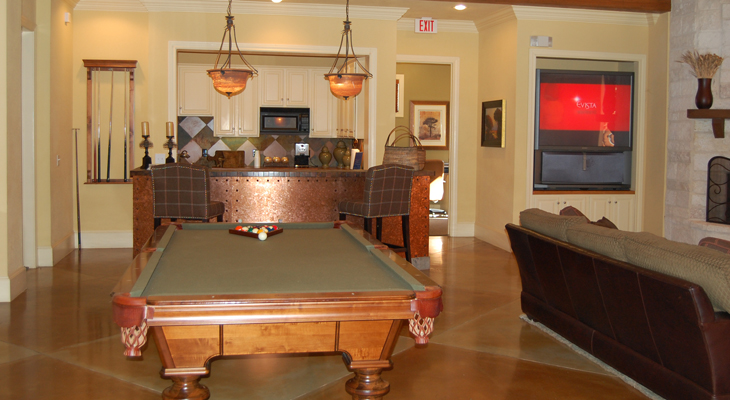 Clubroom with Billiards Table at White Rock Apartment Homes in San Antonio, Texas
