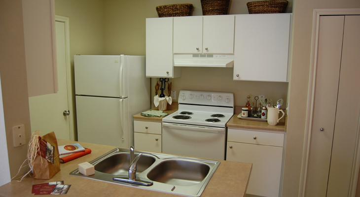 Updated White Kitchen Appliances at White Rock Apartment Homes in San Antonio, Texas