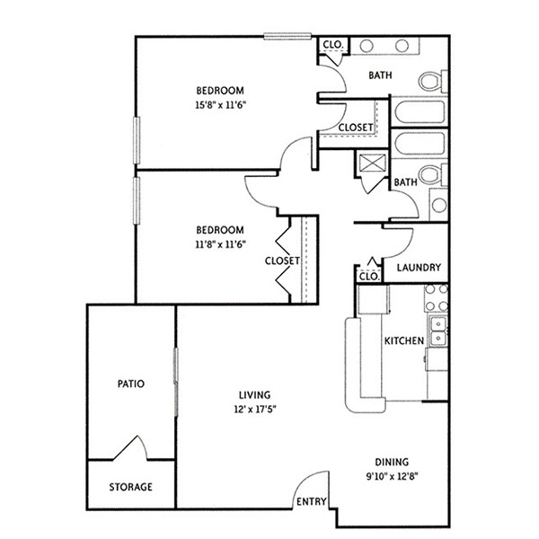 Wildwood Ridge Apartments - Floorplan - Barrington (B1)