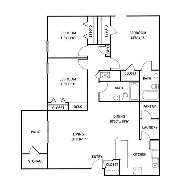 Wildwood Ridge Apartments - Floorplan - Castlewood (C1)