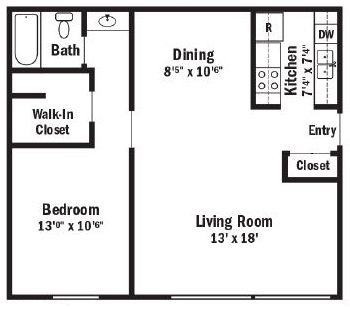 Floorplan - 1 Bedroom Apartment image