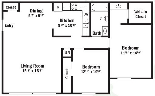 Floorplan - 2 Bedroom Apartment image