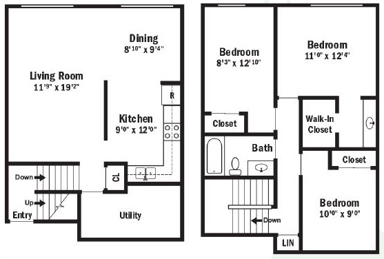 Floorplan - 3 Bedroom Split Level Townhouse image
