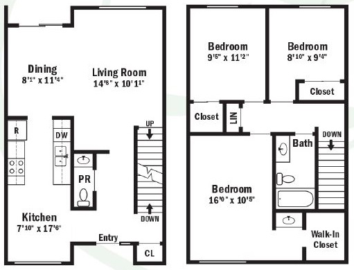 Willow Pond Apartments and Townhouses - Floorplan - 3 Bedroom Townhouse with Full Basement