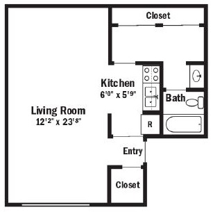 Willow Pond Apartments and Townhouses - Floorplan - Studio Apartment