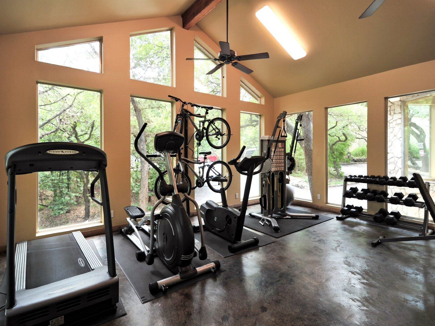24-Hour Fitness Center at Waters at Barton Creek Apartments in Austin, TX