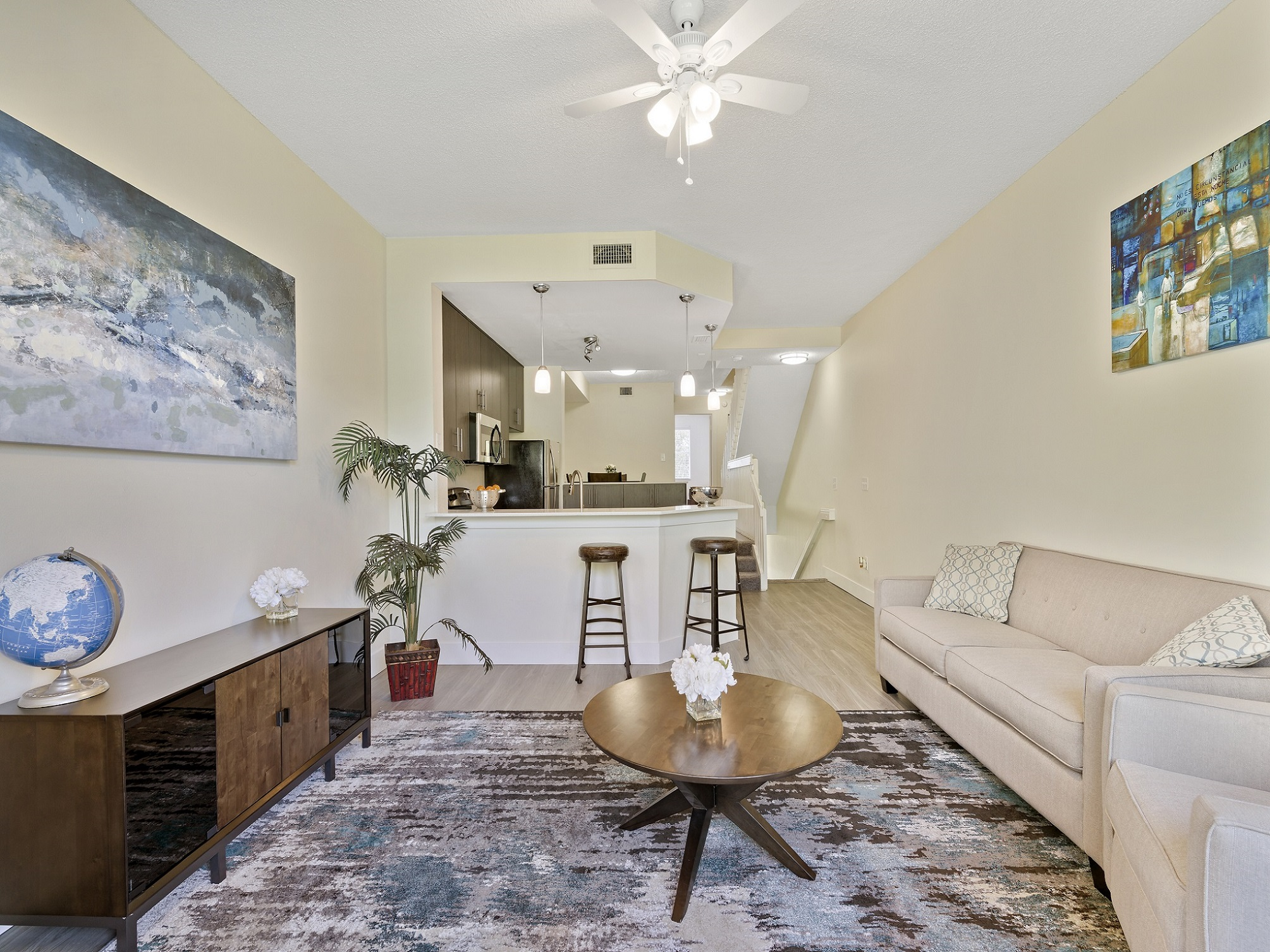 Spacious Living Area at Windsor Castle Apartments in Coral Springs, Florida