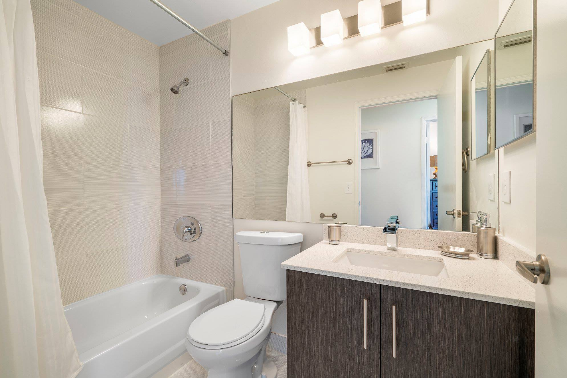 Shower and Tub Combination at Windsor Castle Apartments in Coral Springs, Florida