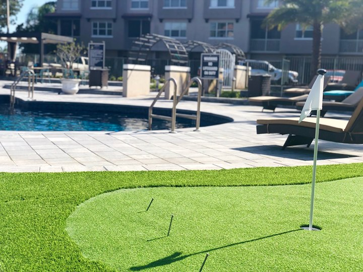 Putting Green at Windsor Castle Apartments in Coral Springs, Florida