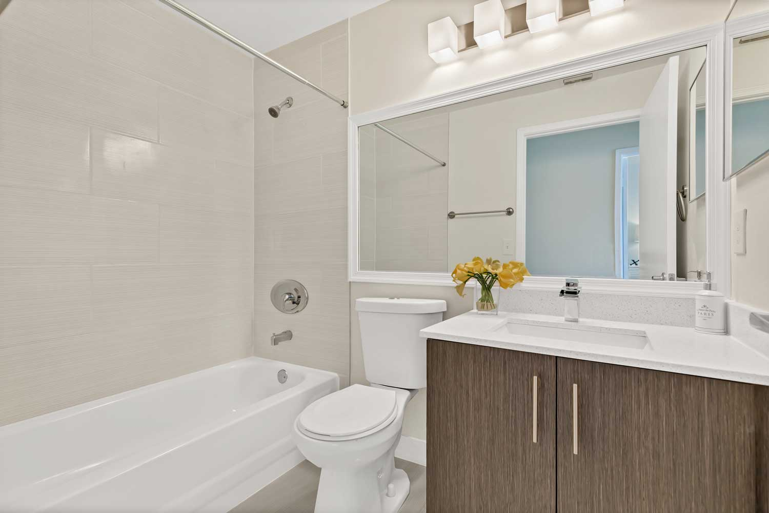 Shower and Bathtub at Windsor Castle Apartments in Coral Springs, Florida