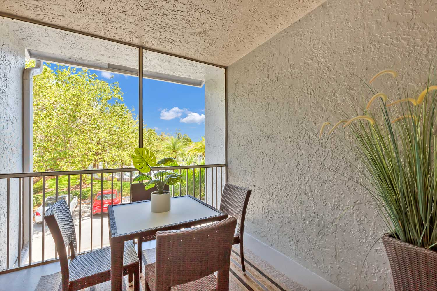 Patio at Windsor Castle Apartments in Coral Springs, Florida