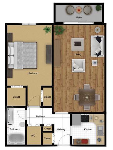 Floorplan - Standard | 1 Bed 1 Bath image