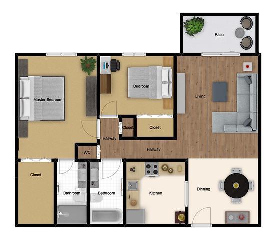 Floorplan - Standard | 2 Beds 2 Baths image