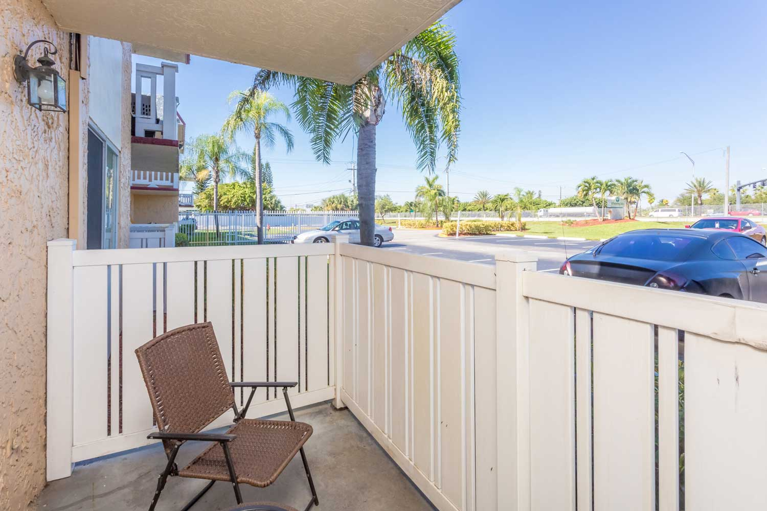 Relaxing Patios at Windsor Forest Apartments in Pompano Beach, FL
