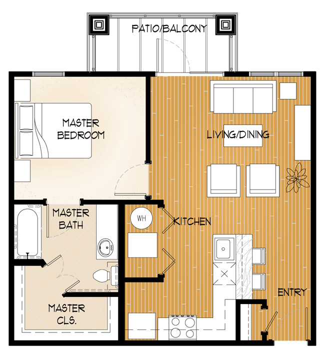 Central Park at Winstar Village Apartments - Floorplan - One Bed/One Bath A