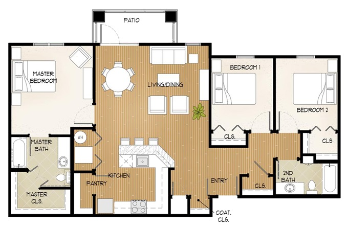 Floorplan - Three Bed/Two Bath image